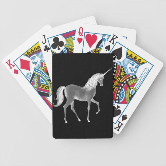 Unicorn Black and White Print Bicycle Playing Cards