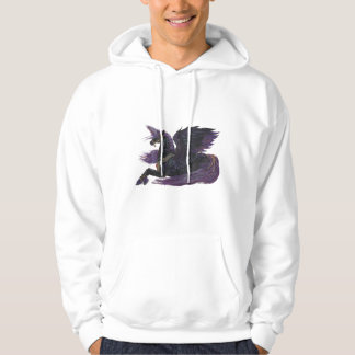 Unicorn Black Purple Winged Pegasus Horse Pony Hoodie
