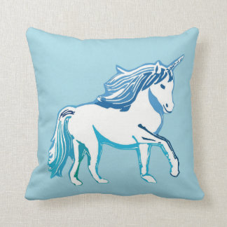 Unicorn Blue and White Pillow