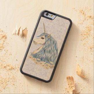 Unicorn Blue Hair Carved Maple iPhone 6 Bumper Case
