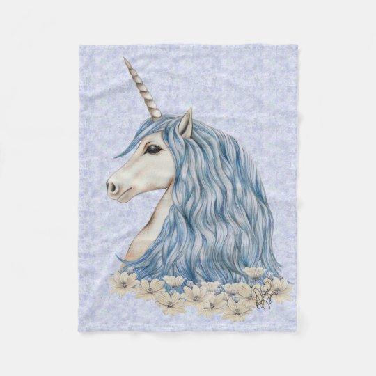 Unicorn Blue Hair Fleece Blanket