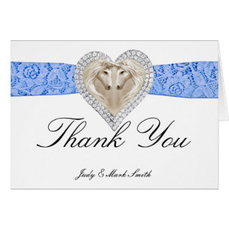 Unicorn Blue Lace Thank You Card