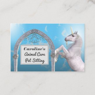 Unicorn Blue Marble Horse Animal Care Business Card