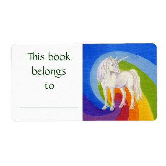 Unicorn book label shipping label