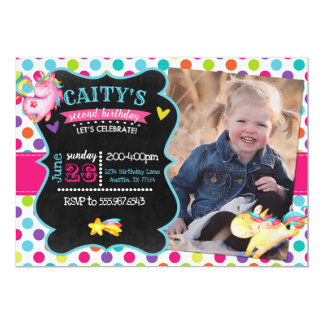 Unicorn Bright Chalkboard Birthday Invitation
