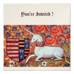 UNICORN ,brown blue white red champaigne 13 Cm X 13 Cm Square Invitation Card