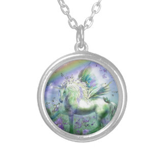 Unicorn Butterflies And Ranbows Silver Plated Necklace