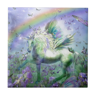 Unicorn Butterflies And Ranbows Small Square Tile