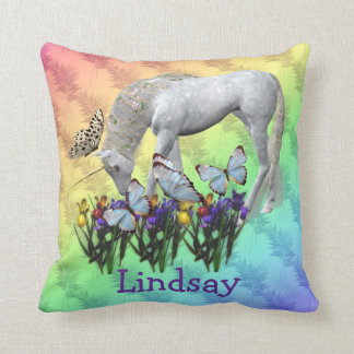 Unicorn Butterflies Personalized American MoJo Pil Throw Pillows