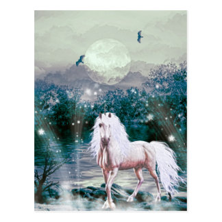 Unicorn By The Moonlight Postcard
