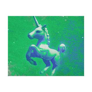 Unicorn Canvas Art Print 14x11 (Glowing Emerald)
