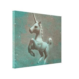 Unicorn Canvas Art Print 14x11 (Teal Steel)