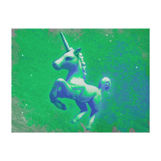 Unicorn Canvas Art Print 24x18 (Glowing Emerald)