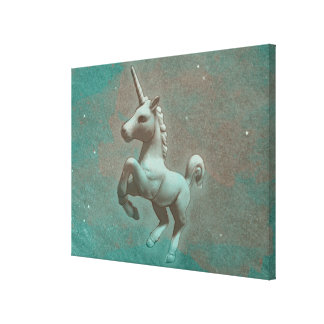 Unicorn Canvas Art Print 24x18 (Teal Steel)