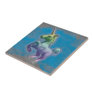 Unicorn Ceramic Tile Trivet (Blue Nebula)
