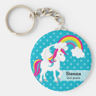 Unicorn * Choose your background color Basic Round Button Key Ring