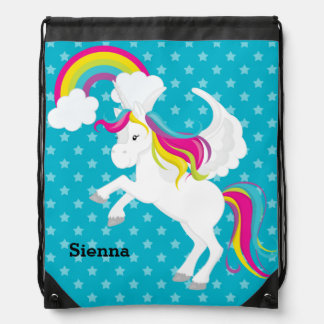 Unicorn * Choose your background color Drawstring Bag