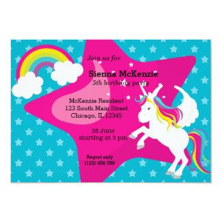 Unicorn * CHOOSE your background colour 13 Cm X 18 Cm Invitation Card