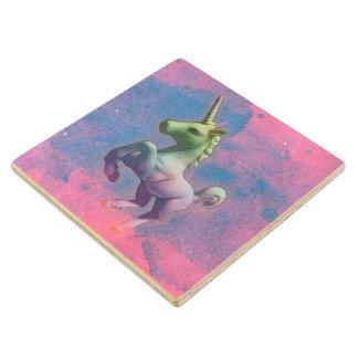 Unicorn Coaster - Wooden (Cupcake Pink) Maple Wood Coaster
