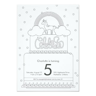 Unicorn Colouring Page Birthday Inviation 13 Cm X 18 Cm Invitation Card