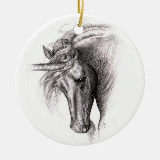 Unicorn Colt Round Ceramic Decoration