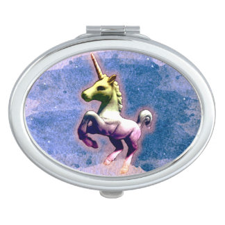 Unicorn Compact Mirror Oval (Burnt Blue)