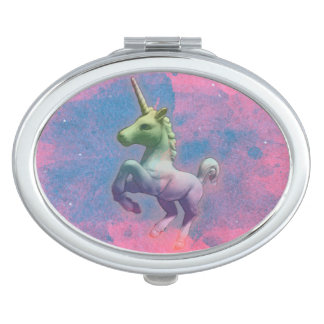 Unicorn Compact Mirror Oval (Cupcake Pink)