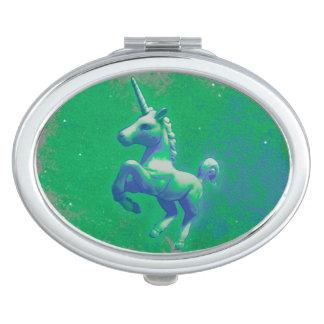 Unicorn Compact Mirror Oval (Glowing Emerald)
