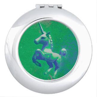 Unicorn Compact Mirror Round (Glowing Emerald)