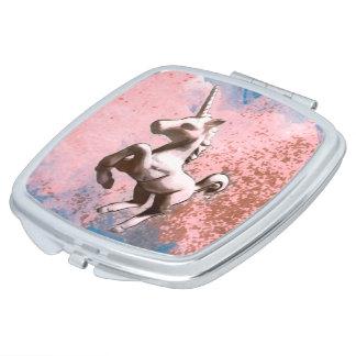 Unicorn Compact Mirror Square (Faded Sherbet)
