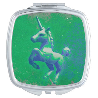 Unicorn Compact Mirror Square (Glowing Emerald)