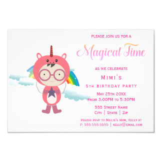 Unicorn costume party card
