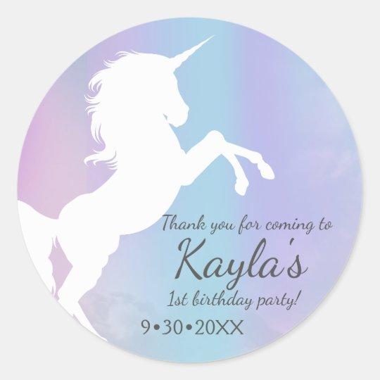 Unicorn, cotton candy colours, custom classic round sticker