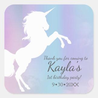 Unicorn, cotton candy colours, custom square sticker