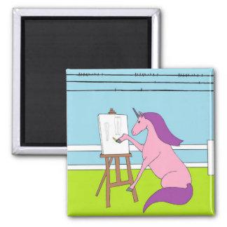 Unicorn Creating Square Magnet