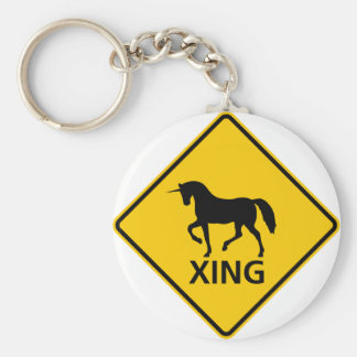Unicorn Crossing Highway Sign Basic Round Button Key Ring