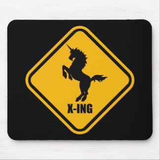 Unicorn Crossing Street Sign Mouse Pad