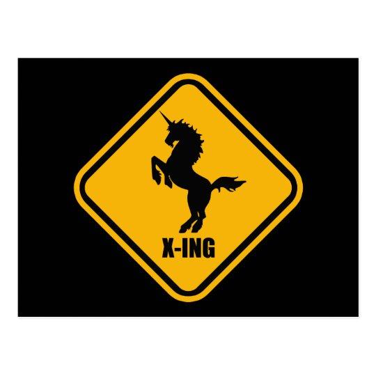 Unicorn Crossing Street Sign Postcard