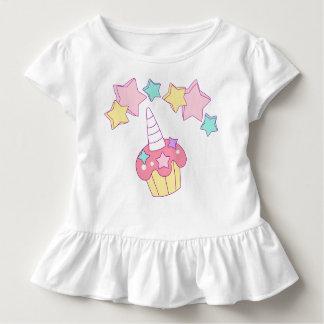 Unicorn cupcake and stars ruffle toddler tee