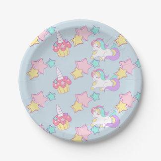 Unicorn cupcake & stars Print Paper Plates