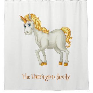 Unicorn custom name shower curtain