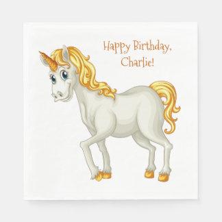 Unicorn custom text paper napkins