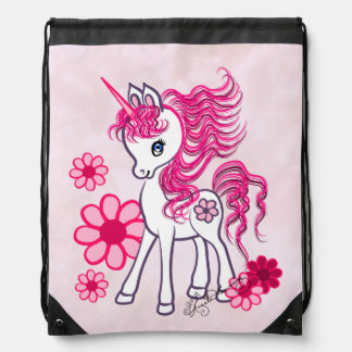 Unicorn Cute Girly Pink Drawstring Bag