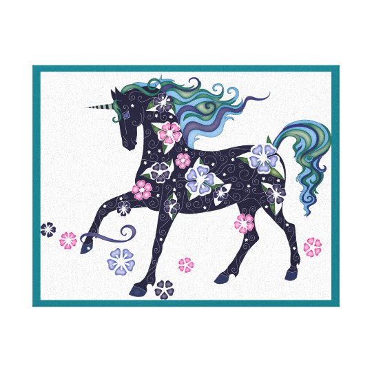 Unicorn - Dark Blue Canvas Print