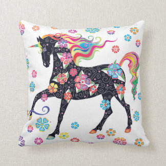 Unicorn Dark Blue Rainbow Flowers Cushion