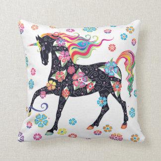 Unicorn Dark Blue Rainbow Flowers Throw Pillow