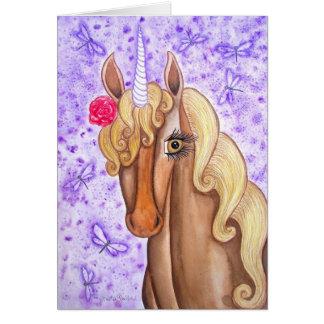 """Unicorn & Dragonflies"" Card"