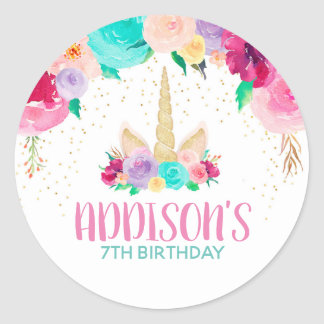 Unicorn Dreams Birthday Party Favour Round Classic Round Sticker