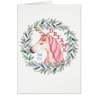 "Unicorn ""Dreams Come True"" blank greeting card"