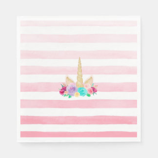 Unicorn Dreams Floral Pink Striped Napkins Disposable Serviette